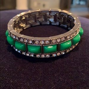 Ann Taylor green and rhinestone stretch bracelet